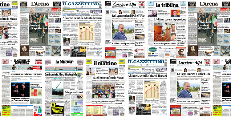 Prime pagine di quotidiani veneti