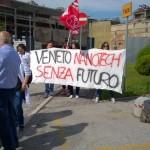 Una protesta dei ricercatori di Veneto Nanotech