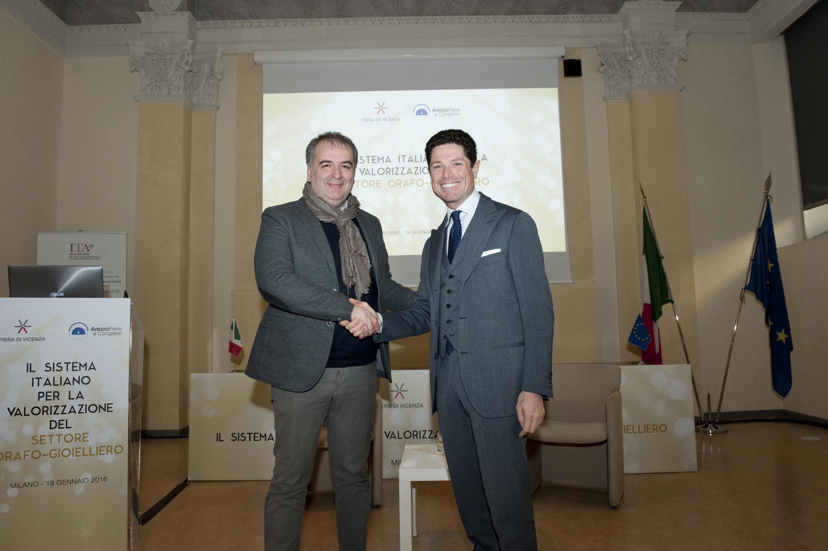 Da sinistra il Presidente di Arezzo Fiere e Congressi Andrea Boldi e il Presidente di Fiera di Vicenza Matteo Marzotto. Credits foto: Roberto Caccuri/Contrasto
