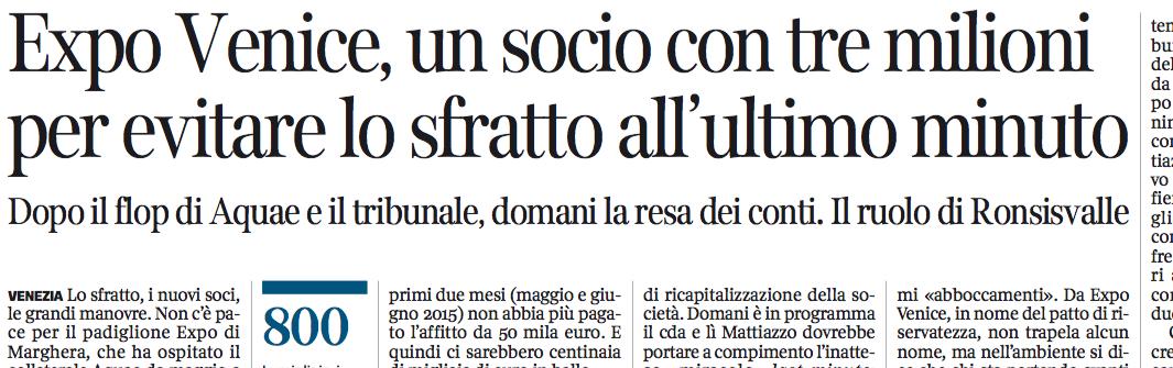 Corriere del Veneto, 28 febbraio 2016, p. 11