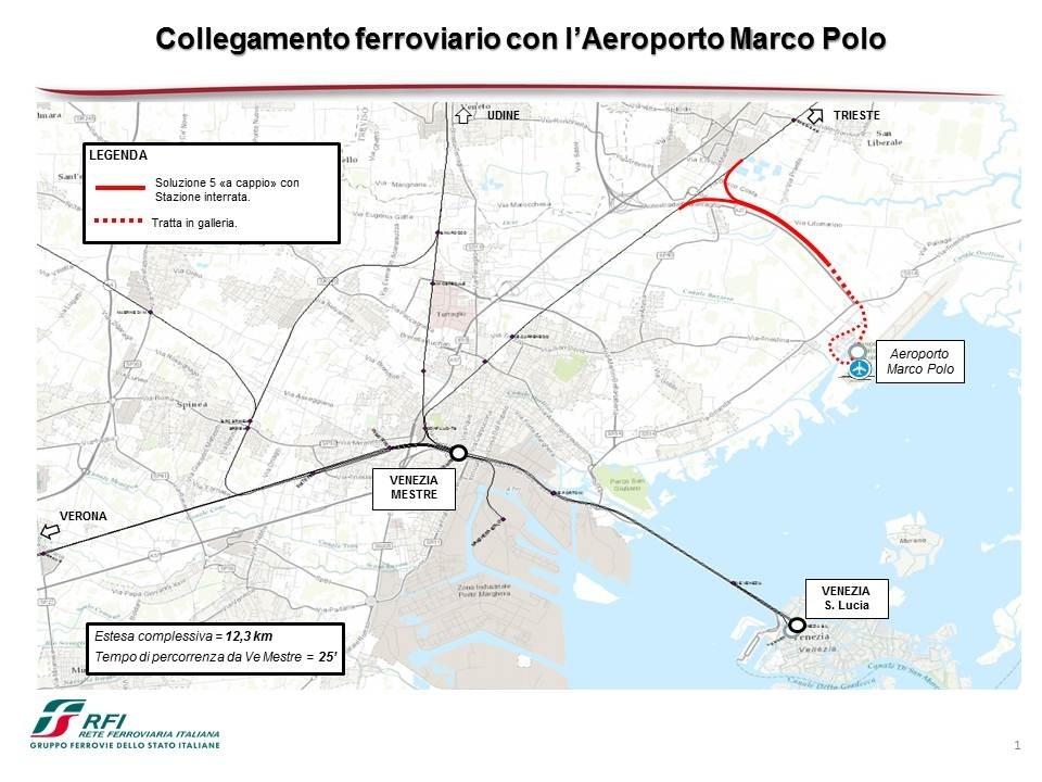 Il progetto per il collegamento ferroviario dell'aeroporto di Venezia