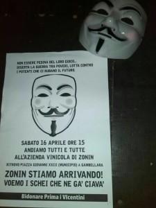Banca Popolare di Vicenza protesta Guy Fawkes Gambellara