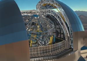Rendering del telescopio E-Elt