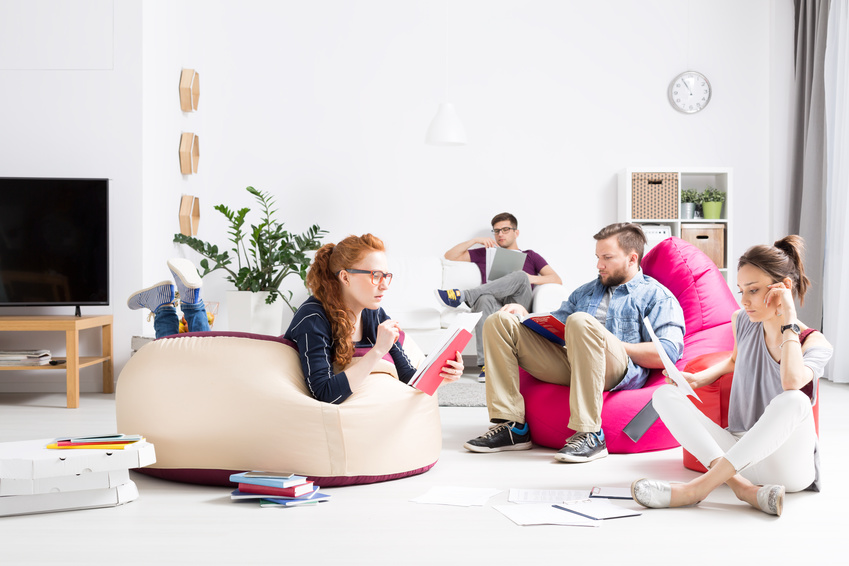 Concentrated students learning together in a modern apartment with colorful sitting sacks