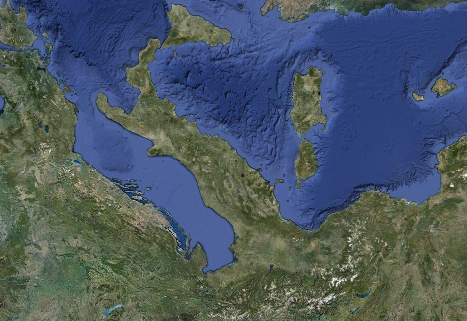 "La penisola italiana ""ribaltata"" sull'asse Est-Ovest"