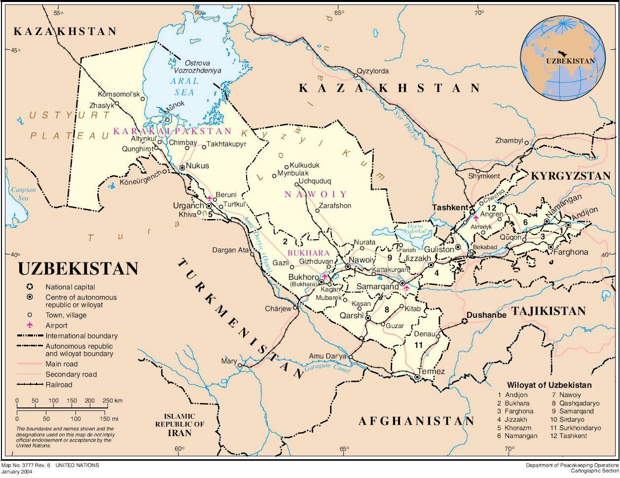 La mappa dell'Uzbekistan