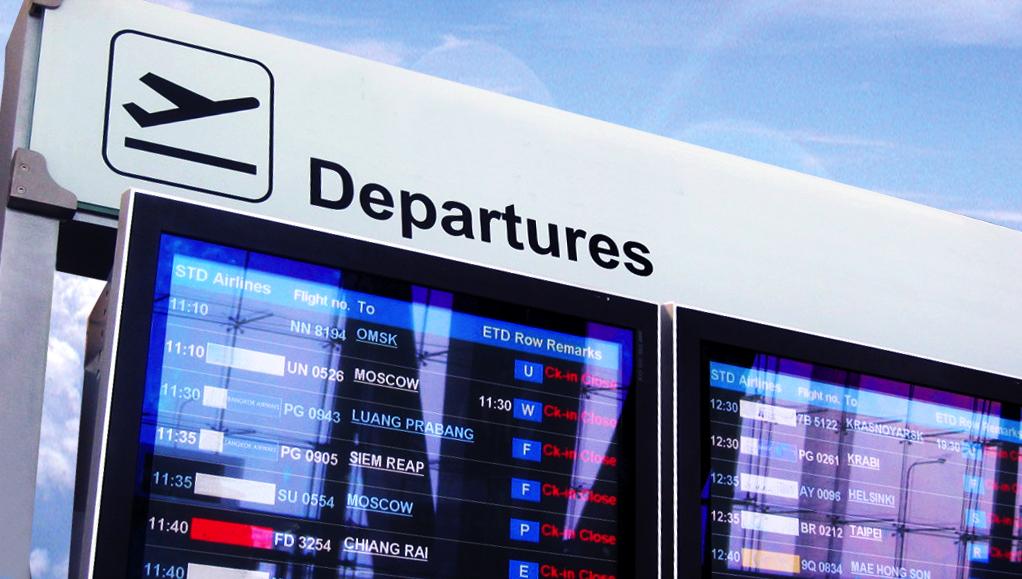 Cartello partenze di un aeroporto