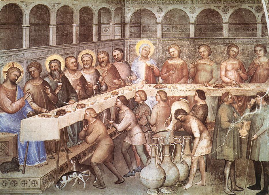 Giusto de' menabuoi, nozze di Cana, 1376-78, battistero di Padova