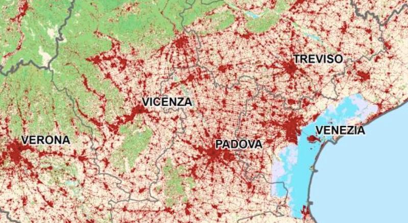 Mappa del consumo di suolo in Veneto 2015